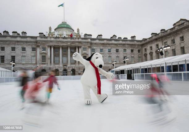Snoopy joins future star skaters on the ice to celebrate the launch of Skate at Somerset House with Fortnum Mason 2018 and winter exhibition Good...