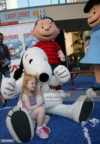 Snoopy Linus and Lucy Van Pelt attend Warner Home Video's DVD Release of 'You're Not Elected Charlie Brown' October 7 2008 in Hollywood California
