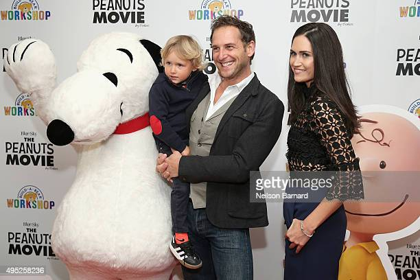 Snoopy Noah Rev Maurer Josh Lucas and Jessica Ciencin Henriquez attend the Peanuts movie and BuildABear Workshop special screening at Crosby Street...