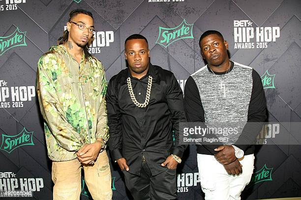 Snootie Wild, Yo Gotti and Blac Youngsta attend the BET Hip Hop Awards 2015 presented by Sprite at Atlanta Civic Center on October 9, 2015 in...