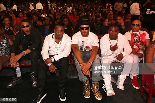 Snootie Wild, Yo Gotti, J-Doe, O.T. Genasis and Spliff Star attend the BET Hip Hop Awards 2014 at Boisfeuillet Jones Atlanta Civic Center on...