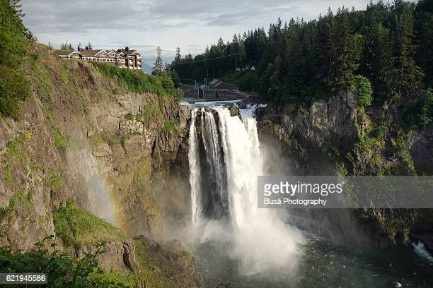 Snoqualmie Falls waterfall, Snoqualmie River between Snoqualmie and Fall City, in the State of Washington, USA
