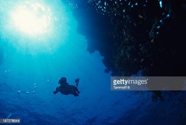Plongeurs avec masque en zone bleue