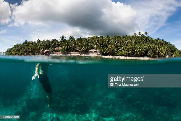 Snorkeler swimming in tropical water