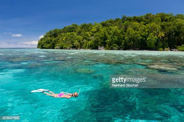 snorkeling at solomon islands, solomon islands - ソロモン諸島 ストックフォトと画像