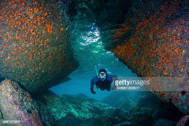 Snorkeling in a cave