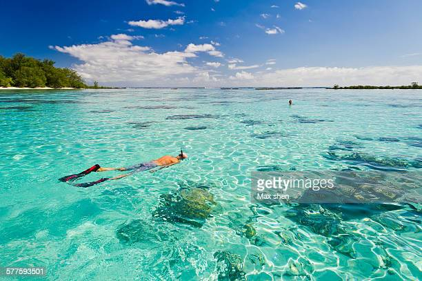snorkeling in the crystal clear water in tahiti - tahiti stock pictures, royalty-free photos & images