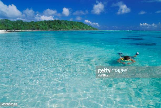 Snorkeling in the lagoon at Bikini Atoll Marshall Islands Micronesia
