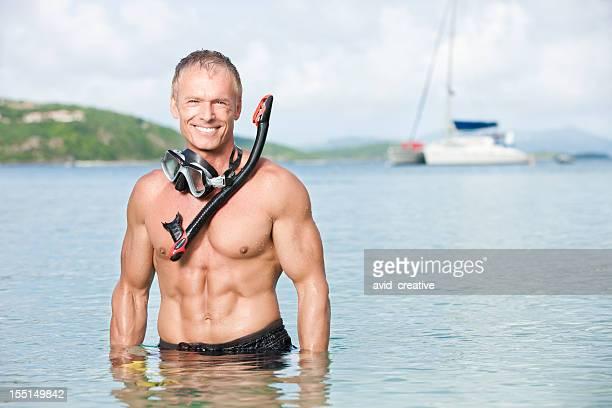 Snorkeling Man on Sailboat Vacation