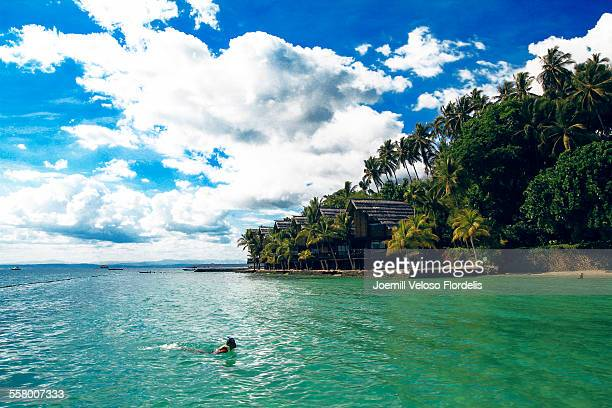 snorkeling: pearl farm beach resort, philippines - davao city stock photos and pictures
