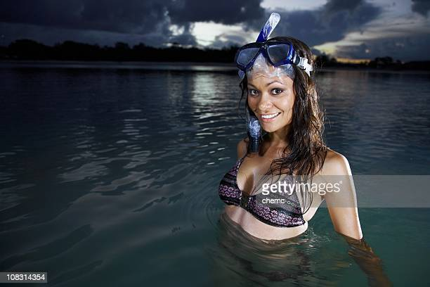 snorkeling - light skin black woman stock photos and pictures
