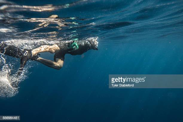snorkeling - one man only stock pictures, royalty-free photos & images