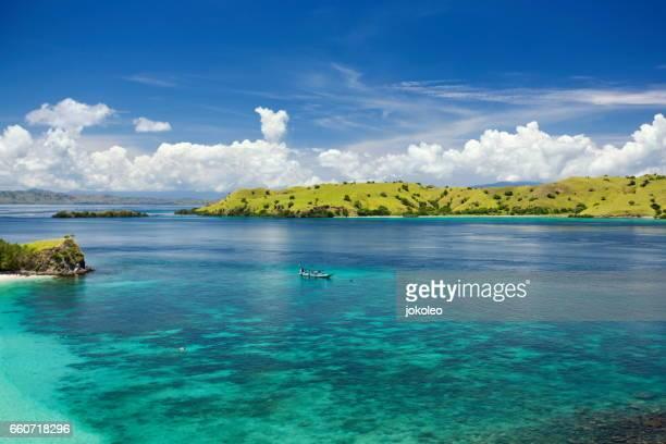 snorkeling spot at komodo island - labuan bajo, flores - flores indonesia fotografías e imágenes de stock