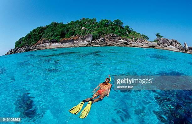 Snorkeling woman Thailand Indian Ocean Phuket Similan Islands Andaman Sea