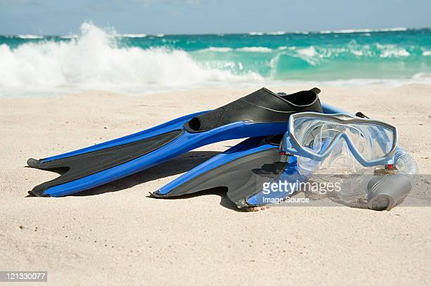 Snorkelling equipment at water's edge, Mustique, Grenadine Islands