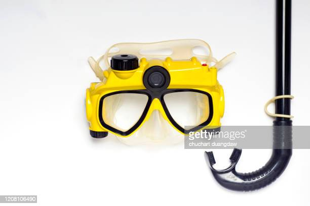 snorkelling equipment. summer vacation swimming fun concept - scuba mask stock pictures, royalty-free photos & images
