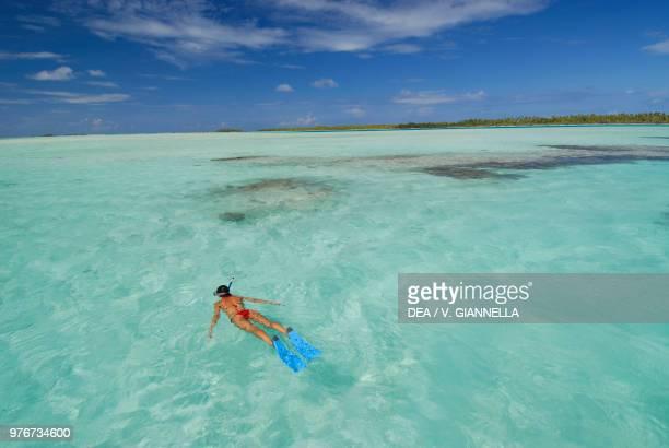 Snorkelling in the Tehatea Lagoon, Fakarava Atoll , Tuamotu Islands, French Polynesia.