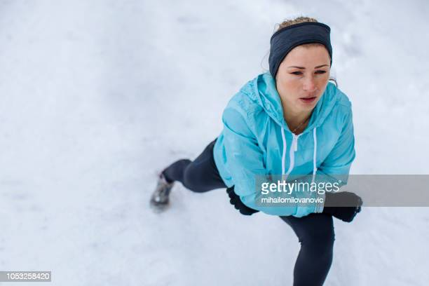 female athlete getting ready for running