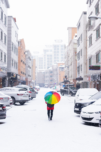 Snow and Umbrella rainbow colors - gettyimageskorea