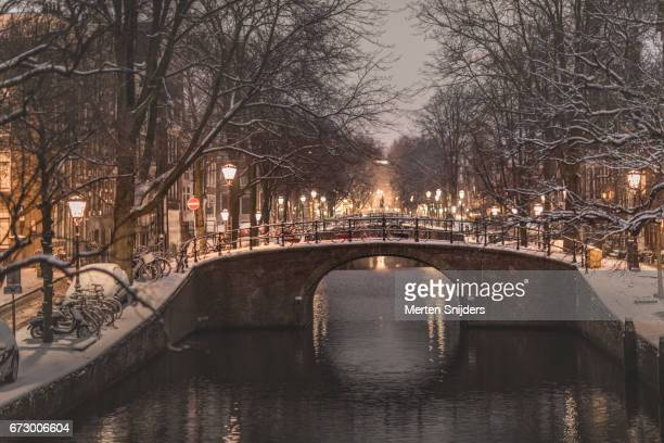Snow and winterscene at Reguliersgracht Amsterdam