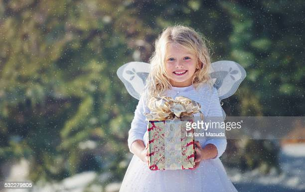 Snow Angel Bearing Christmas Gift