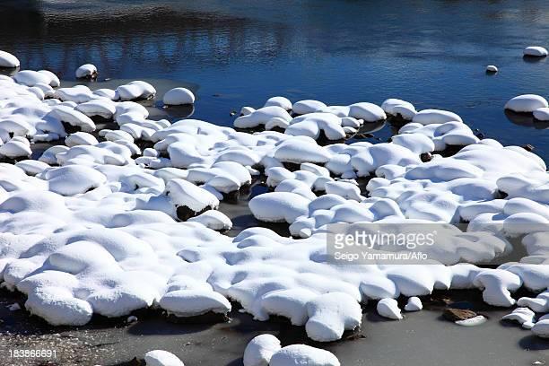 Snow at Chikuma River, Nagano Prefecture