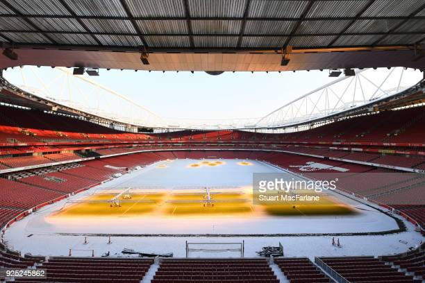 Snow at Emirates Stadium on February 28 2018 in London England