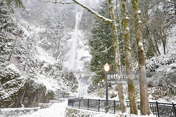 snow at multnomah falls - multnomah falls stock pictures, royalty-free photos & images