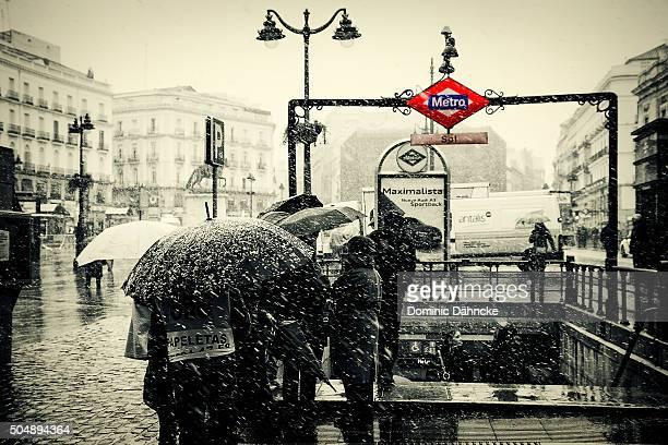 Snow at 'Puerta del Sol' square (Madrid. Spain)