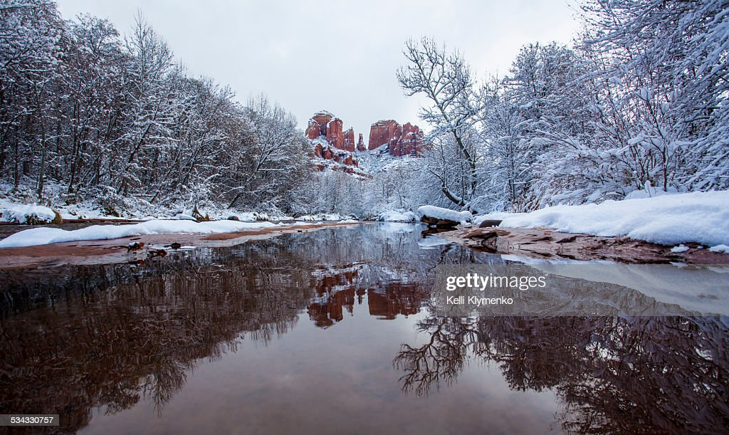 Snow at Red Rock Crossing : Stock Photo