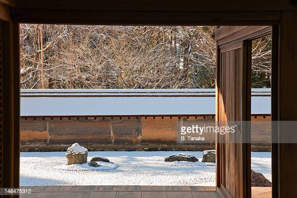 Snow at RyoanjiTemple's Zen Garden, Kyoto, Japan