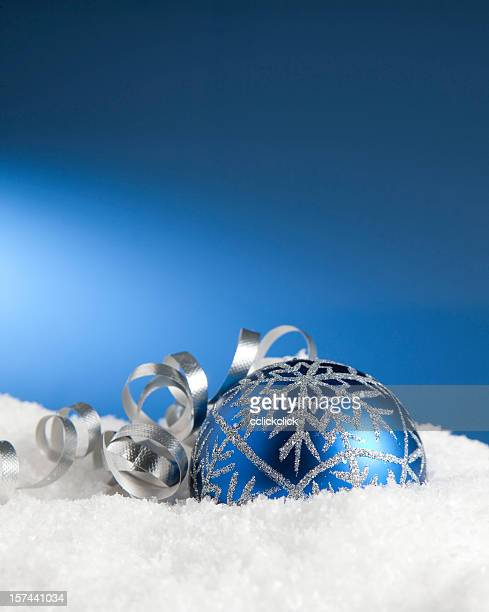 snow bauble & ribbon - fake snow stock pictures, royalty-free photos & images