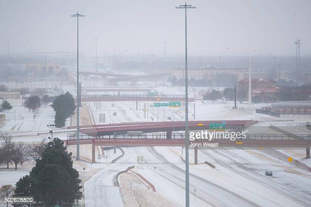 Snow blankets Marsha Sharp Freeway on U.S. Highway 82 on December 27, 2015 in Lubbock, Texas. Coming on the heels of several strong tornadoes, some...