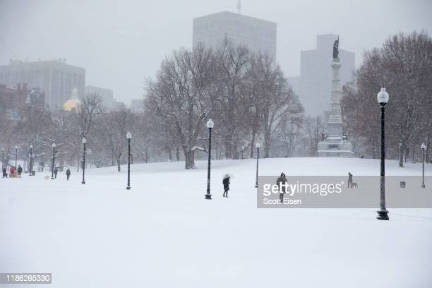 Snow blankets the Boston Common as the first winter storm of the season impacts the region on December 3 2019 in Boston Massachusetts