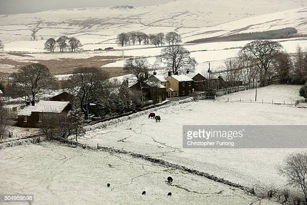 Snow blankets the countryside in the Peak District near Buxton on January 14 2016 in Buxton England Overnight snowfall on the high ground of the Peak...