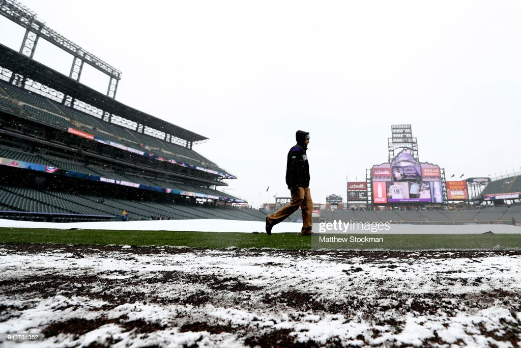 Snow blankets the field before the Colorado Rockies home opener against the Atlanta Braves at Coors Field on April 6, 2018 in Denver, Colorado.