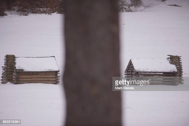 Snow blankets the grounds at Valley Forge National Historical Park March 14 2017 in Valley Forge Pennsylvania A blizzard is forecast to bring more...