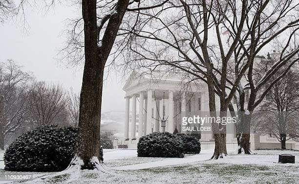 Snow blankets the North Lawn of the White House in Washington DC December 16 during a snow storm hitting the Midatlantic region AFP PHOTO / Saul LOEB