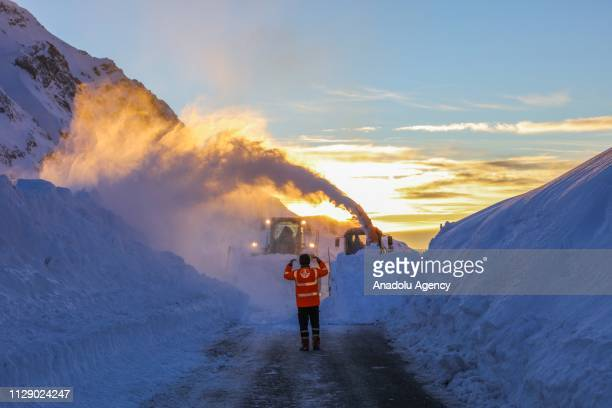 Snow blower belonging to Directorate General for Highways, works to open road despite avalanche danger after heavy snowfall and blizzard in...