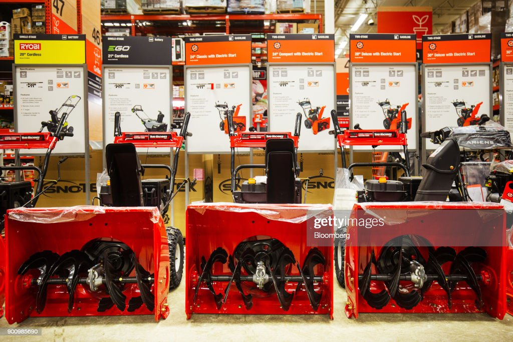 Snow blowers sit on display for sale at a Home Depot Inc. store in Boston, Massachusetts, U.S., on Wednesday, Jan. 3, 2018. The worst winter storm of the season has already knocked out power and canceled more than 1,600 flights. Next it threatens to bring more snow, ice and cold from Florida to Nova Scotia, including New York and Boston. Photographer: Adam Glanzman/Bloomberg via Getty Images