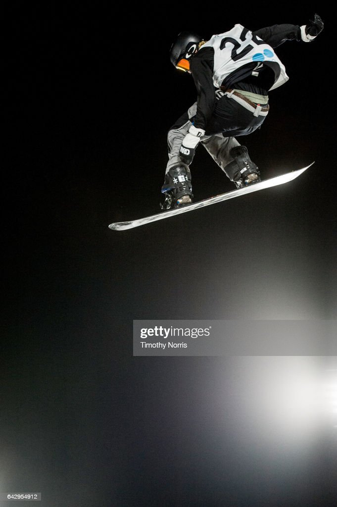 Snow boarder Roope Tonteri of Finland competes during qualification rounds of Air + Style Los Angeles 2017 at Exposition Park on February 18, 2017 in Los Angeles, California.