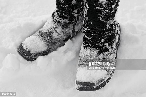 Snow boots in snow