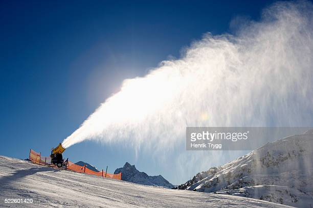 Snow Cannon Spraying New Snow