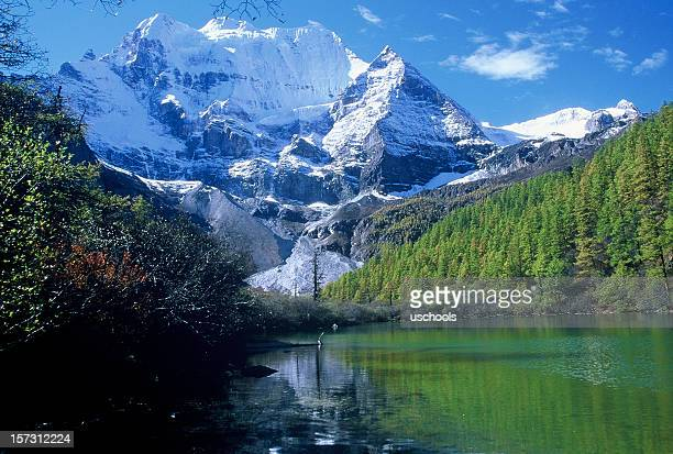 Snow capped mountain and reflection, Yading, Shangri-La