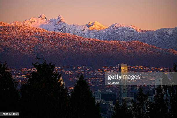 Snow Capped Mountain Peaks 'The Lions' at Sunrise