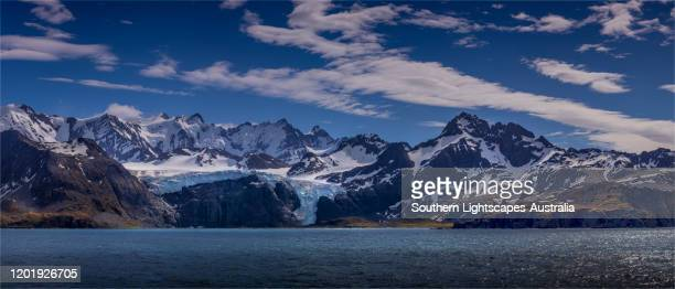 snow capped mountains and majestic scenery, gold bay, south georgia island, southern atlantic ocean. - zuid georgia eiland stockfoto's en -beelden
