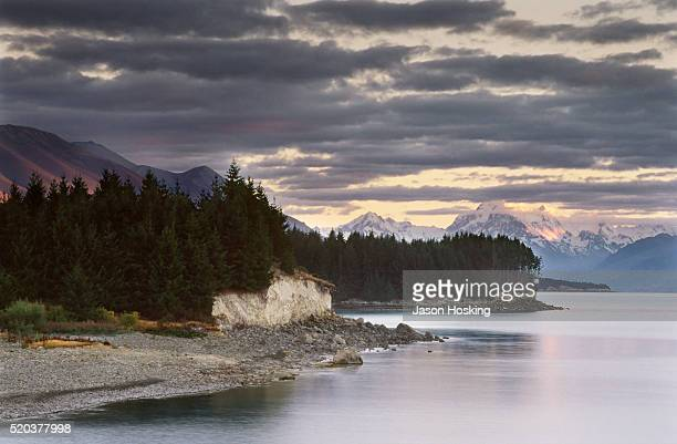 Snow capped mountains and pine forest at the shore, New Zealand