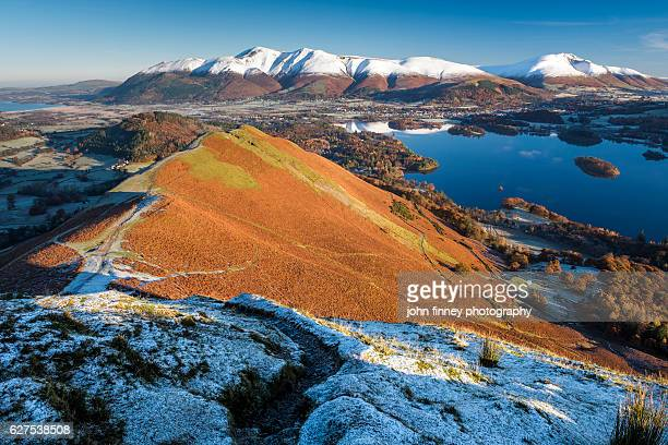 snow capped mountains in the english lake district national park. uk. - keswick stock photos and pictures