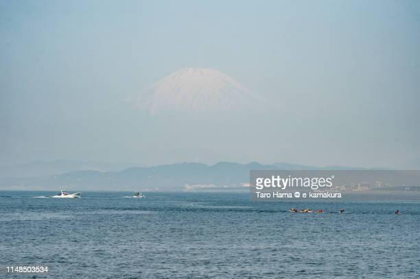 Snow capped Mt. Fuji and Pacific Ocean in Japan
