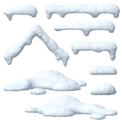 Snow caps set, icicles, snowballs and snowdrifts 1180029429